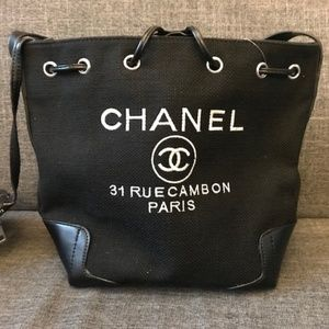Chanel Canvas Tote Bag VIP Gift Bag Black New